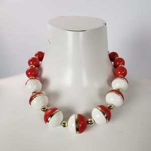 Vintage Red & White Beaded Necklace